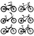 Set of silhouettes of different bikes vector image