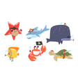set sea animals in pirate costumes vector image