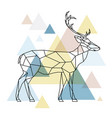 silhouette of a geometric deer standing vector image vector image