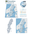 sweden maps with markers vector image