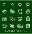 thin line icons casino poker gambling vector image