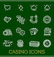 thin line icons of casino poker gambling vector image