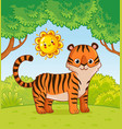 tiger stands in forest in summer vector image vector image