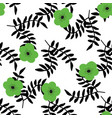tropical flowers and black leaves seamless pattern vector image vector image