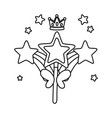 wand with rainbow and crown black and white vector image vector image