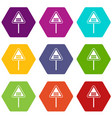 warning road sign icon set color hexahedron vector image vector image