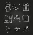 Wedding thin line icons on chalkboard