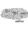 what should i do if i am arrested text word cloud vector image vector image