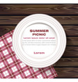 white plate on wooden table summer picnic concept vector image vector image