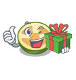 with gift feijoa fruit slices on cartoon plate vector image vector image