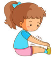 young girl stretching on white background vector image vector image