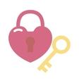 Heart lock and key flat valentine design vector image
