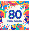 80 eighty year birthday party greeting card vector image