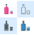 alcohol bottle and glass icon set in flat and line vector image