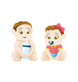 baby girl and boy sitting on white background vector image