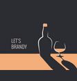 brandy bottle banner glass whiskey vector image vector image