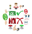 check mark yes and no icons set vector image