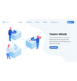 colleagues team work isometric landing page vector image vector image