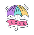 colorful umbrella with lettering love on doodle vector image vector image