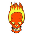 comic cartoon flaming skull with love heart eyes vector image