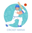 Cricket player icon poster print flat vector image vector image