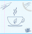 cup tea and leaf line sketch icon isolated on vector image vector image