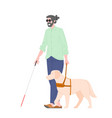 disability blind person with guide dog vector image vector image