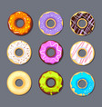 donut icon big set isolate vector image vector image