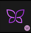 elegant butterfly logo on a dark background one vector image vector image