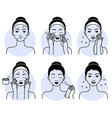 face skincare set isolated woman vector image