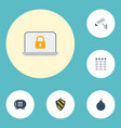 flat icons safe shield keypad and other vector image vector image