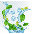 fresh drink realistic water vector image vector image