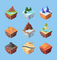 game landscapes isometric island set fantasy blue vector image vector image
