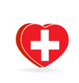 heart shape with medical cross vector image vector image