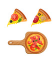 hot fresh pizza icon vector image vector image