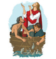 jesus and miraculous catch fish vector image vector image