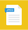 jpeg file icon jpeg document type flat design vector image vector image