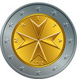 maltese money gold euro coin two euro vector image vector image