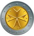 maltese money gold euro coin two euro vector image vector image