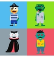 Monster cartoon characters isolated silhouette vector image