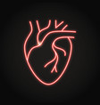 neon human heart icon in line style vector image