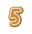 number 5 gingerbread font peppermint honey-cake vector image
