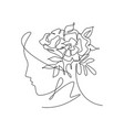 one continuous line art drawing minimalist woman vector image vector image