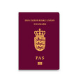passport of denmark vector image vector image