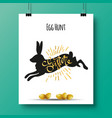 poster with a handwritten phrase-egg hunt easter vector image vector image