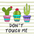 poster with fun cacti vector image vector image
