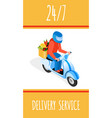quick food delivery isometric poster template vector image vector image
