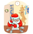 Santa sitting the table and thinking angrily vector image