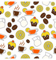 seamless background a set drinks coffee vector image