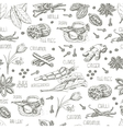 Seamless pattern with spices on a white background vector image